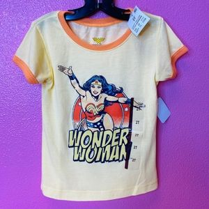 Toddler girls Wonder Woman short t-shirt yellow 2T